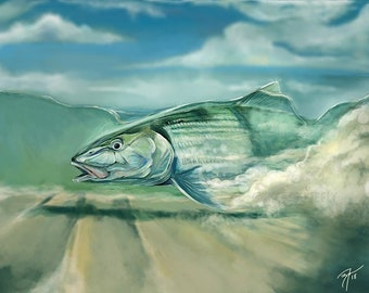 Bonefish on Flat Digital Painting / Giclee Prints / Fly Fishing Artwork / Inshore Fish Saltwater Art Print / Coastal Artwork The Bonnie Fly