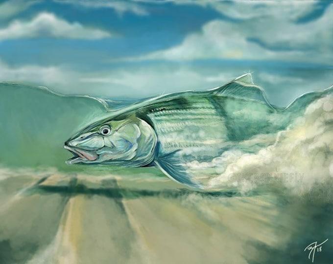 Featured listing image: Bonefish on Flat Digital Painting / Giclee Prints / Fly Fishing Artwork / Inshore Fish Saltwater Art Print / Coastal Artwork The Bonnie Fly