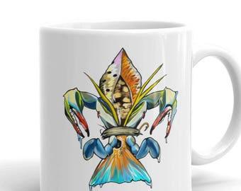 Fleur De Lis Drum Coffee Cup / Redfish Art Ceramic Mug / Fishing Mugs / Fish Cups / The Bonnie Fly / Cajun Kitchen Decor / Wedding Gift