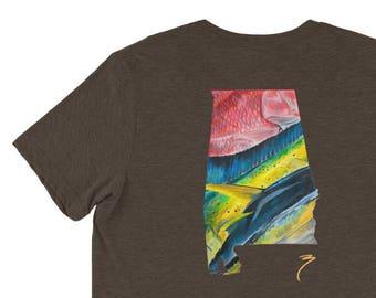 Alabama Offshore Saltwater Fishing Comfortable Shirt / Short Sleeve / Red Snapper Yellowfin Tuna Mahi Mahi / The Bonnie Fly Apparel / Fish