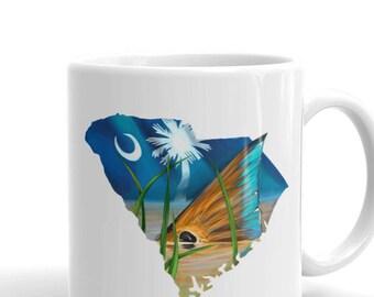 South Carolina Coffee Mug / Ceramic Redfish Cup / Fly Fishing Saltwater Inshore Kitchen Mugs / Fish Artwork / State Flag