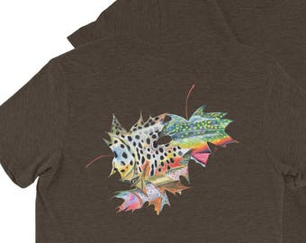 Short sleeve Fall Leaf Trout Skin Artwork Shirts / The Bonnie Fly Fall Clothing / Brown Brook Rainbow Trout Fishing Art Print Pastel Prints