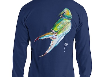Blue Crab Long Sleeve T Shirt / The Bonnie Fly by Brandon Finnorn / Seafood Art Shirts / Crab Claw Gulf Coast / Apparel / Coastal Artwork