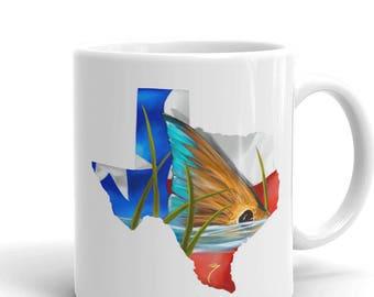 Texas Redfish Coffee Mug / Kitchen Decor / Fish Cup / Saltwater Inshore Artwork / State Flag Lonestar Ceramic / Lone Star Map / Red Drum