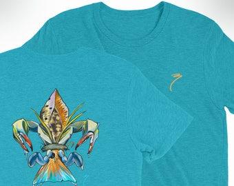 Tri-blend Drum-de-lis Short Sleeve Shirt / Soft Fitted T-Shirt / Redfish Speckled Trout Blue Crab Flounder Artwork Print / Fleur de lis Art
