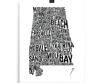 Alabama Coastal Waterway Poster | Mobile Bay | Lower Alabama Art | Black and White Artwork | Posters of Coast | Brandon Finnorn Prints