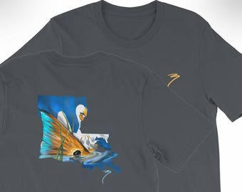 Triblend Louisiana Comfortable Fitted T Shirt / Redfish State Flag / Saltwater Fishing New Orleans / The Bonnie Fly / Inshore Gulf Coast