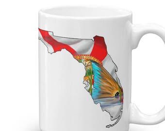 Florida Redfish Coffee Mug / Inshore Fishing Cup / Ceramic Mugs / Saltwater Red Drum Fish Artwork / The Bonnie Fly / Breakfast Decor Fish