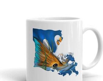 Louisiana Redfish Coffee Mug / Ceramic Cup / Kitchen Cafe Fish Artwork / State Flag / Red Drum / Sportsman / Tailing Fish Art / New Orleans