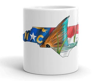 North Carolina Redfish Coffee Mug / Ceramic Fish Art Cups / Kitchen Decor / Saltwater Fishing Dish / Breakfast The Bonnie Fly / Cafe State
