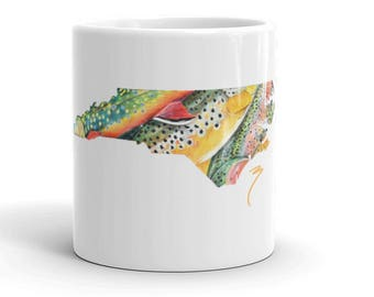 North Carolina Fly Fishing Coffee Mug / Brook Trout Rainbow Brown Kitchen Decor / Ceramic Cups The Bonnie Fly Fishing Artwork State Kitchen