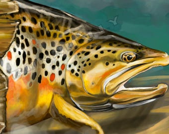 Brown Trout in Riffle Painting | Canvas and Giclee Prints