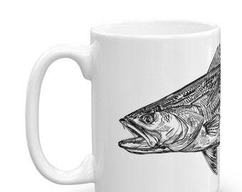 Speckled Trout in Ink Coffee Mug / Trout Art / Ceramic Glossy Artwork / Saltwater Inshore Fishing / Kitchenware / Fish Print