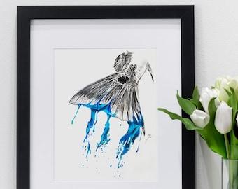 Redfish Tail Splashing Blue | Giclee Prints