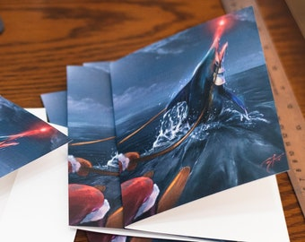 Red-nosed Marlin with Santa Greeting Linen Cards