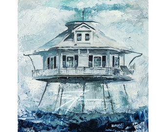 """Limited Edition Middle Bay """"Stubborn in the Storm"""" Lighthouse Print 