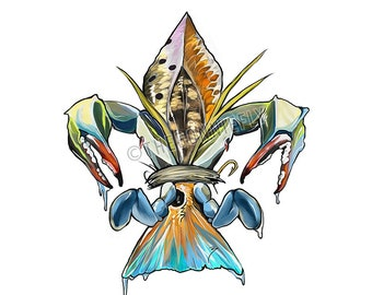 Drum-de-lis Clear Vinyl Decal / Redfish Tail / Crab Claw / Inshore Fishing Artwork / Fish Fleur de lis / Flounder Speckled Trout / Saltwater