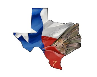 Trout Tail through Texas Decal / Inshore Fishing Sticker / Lone Star State Flag / Red Drum Decals / Speckled Trout / Fly Tying Decals