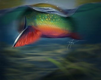 Brook Trout Take Painting / Digital Painting Prints / Giclee Fine Art Print / Fishing Artwork / Brookie Print / Fly Tying / The Bonnie Fly