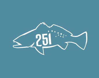 251 Mobile Alabama Clear Vinyl Trout Decal