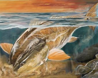 Digging Bull Redfish Painting | Giclee Prints