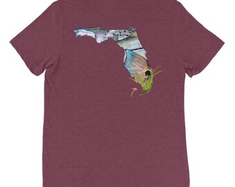 Florida Soft Comfort T Shirt / Fitted Tee Inshore Saltwater Apparel / Triblend Speckled Trout Redfish Snook Fishing Art / Gulf Coast Artwork