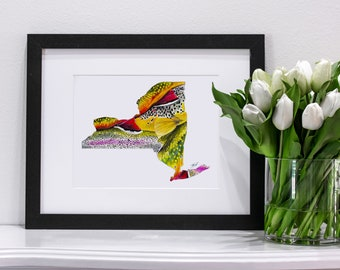 New York State of Fishing Pastel | Giclee Prints