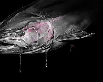 Steelhead Painting / Giclee Prints / Fly Fishing Artwork / Fish Painting / Salmon Portrait / Trout Art Digital Painting / Brown Trout
