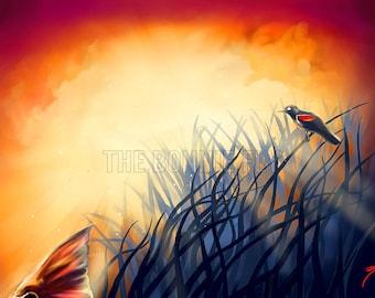Redfish Tailing Sunrise Painting | Giclee Prints