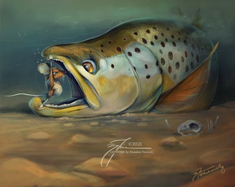 Mouse v Brown Trout Print | Fine Art Prints and Posters