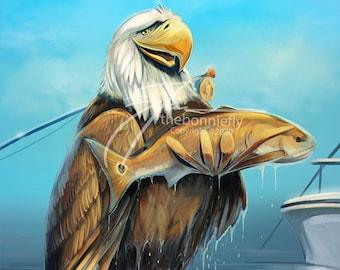 Eagle Fly Fishing for Redfish | Digital Artwork | Fine Art Prints