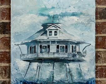 "Middle Bay Lighthouse ""Stubborn in the Storm"" Oil Painting | 18x24x1.5 inch Oil on Canvas | Coastal Decor | Fine Art | Gulf Coast"