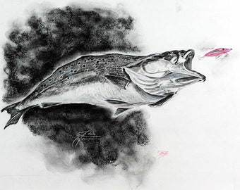 Topwater Trout Original Sketch | Pastel Charcoal Mixed Media