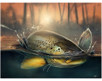 Rising to Chaos | Brown Trout Digital Painting | Giclee Prints | Fly Fishing Artwork | Fish Stream Art Print | The Bonnie Fly