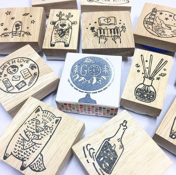 20mm Mini Stamps Driving Rubber Stamp Cute Driving Stamp Steering Wheel Stamp 16mm S702 Planner Stamp