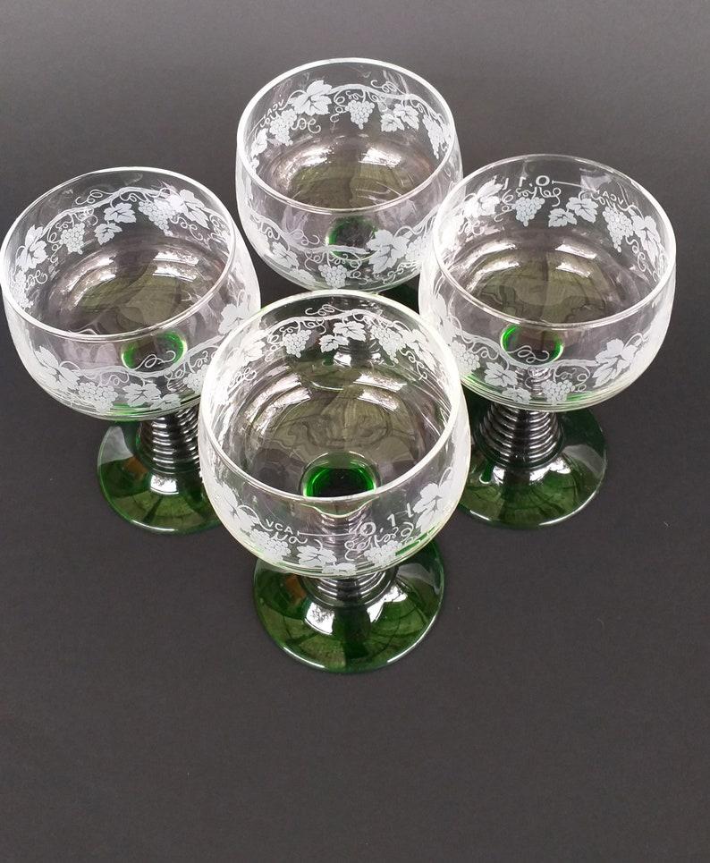 Vintage German Green Roemer Glasses, Set Of 4 Vintage Glasses, Green Glasses