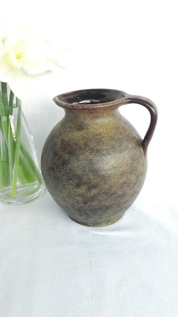 Vintage Pottery Vintage Pitcher Ceramic Vase Made In West Etsy