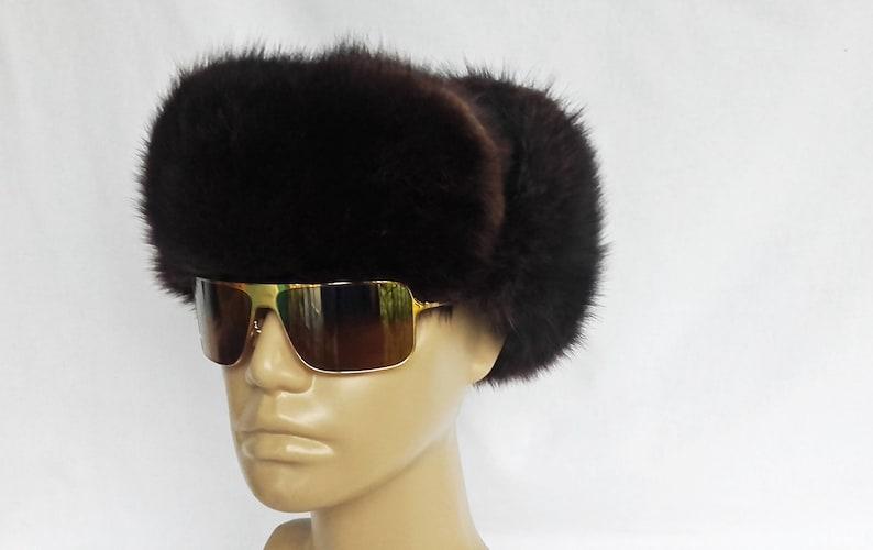 Vintage Fur Trapper Warm Winter Hat Aviator Style Ear Flaps Large 58 cm 23
