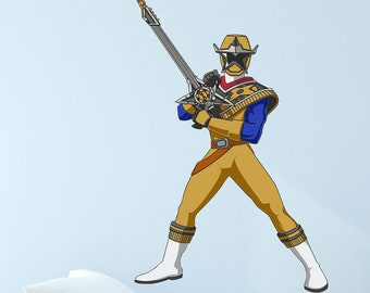 Mighty Morphin Power Rangers Ninja Steel Gold Ranger Poster Wall Decal Officially Licensed by Saban