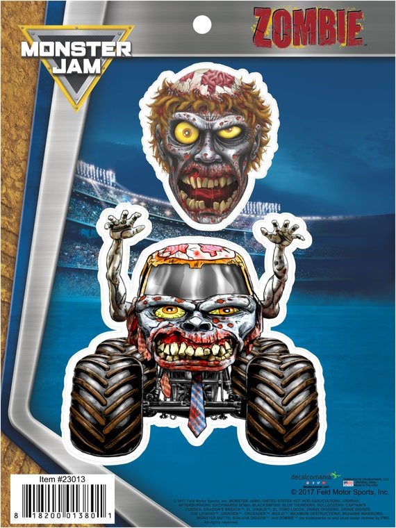 Monster Jam Zombie Truck 2 Stickers Decals For Cell Phone Etsy