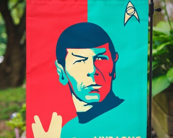 Star Trek Garden Flag | Spock Live Long and Prosper | 12.5 x 18 in | 31.7 x 45.7 cm