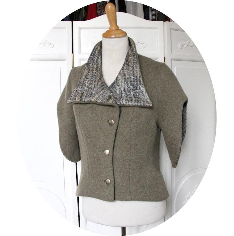 d3bdfab44df Gilet vert en laine a manches courtes veste en laine vert