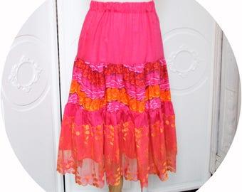 MIDI skirt, pink and orange, pink skirt has orange ruffled skirt cotton pink and orange lace