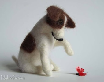 Jack Russell Terrier, Needle Felted Soft Sculpture