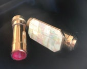 Collectable, Glamorous Vintage 1950s Lipview Lipstick holder with Pop-up mirror Mother of Pearl