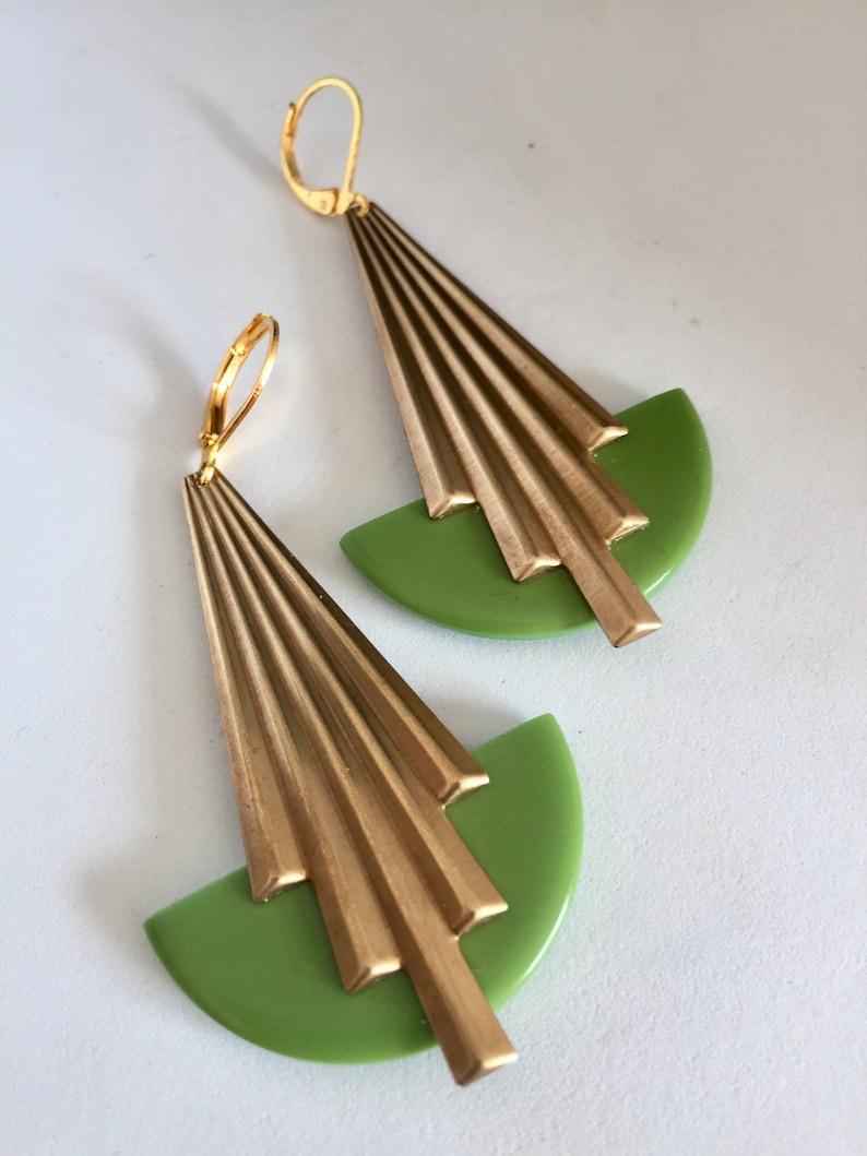 Art deco earrings Glamorous Large Vintage pale green bakelite Chic Geometric statement earrings jazz age modernist bakelite earrings