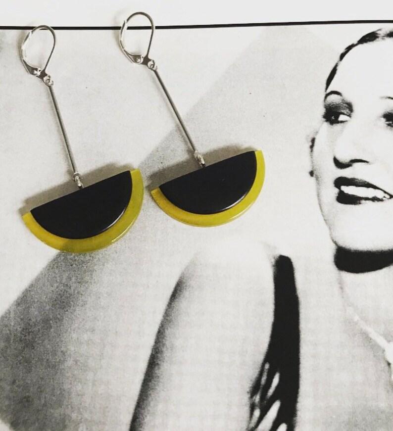 Art deco earrings Modernist Black Phenolic bakelite /& Celluloid Bengel style earrings modernist earrings