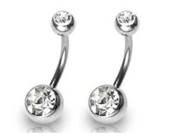 """14g 3/8"""" 10mm 8mm 6mm, 11mm 12mm, Navel Ring Double Gem Clear CZ Belly Button Sold Single"""