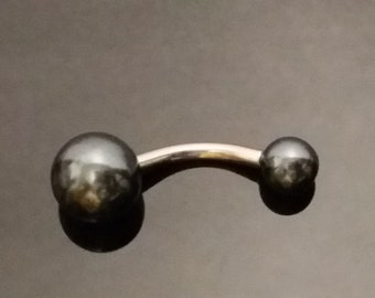 Black Imitation Pearl Navel / Belly Ring 316L Surgical Steel 14g 10mm