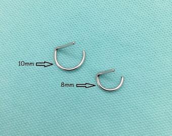 """16g Septum Ring """"D"""" Shape Surgical Steel - 8mm, 10mm, 12mm  SEPTUM Rings"""